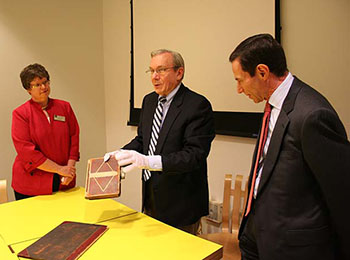 Gary Previts, Arnold Hirshon and Jill Tatem with Ernst & Young Founders' Archive