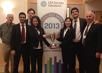Weatherhead student team holds 1st place trophy at CFA Institute Competition in Cleveland