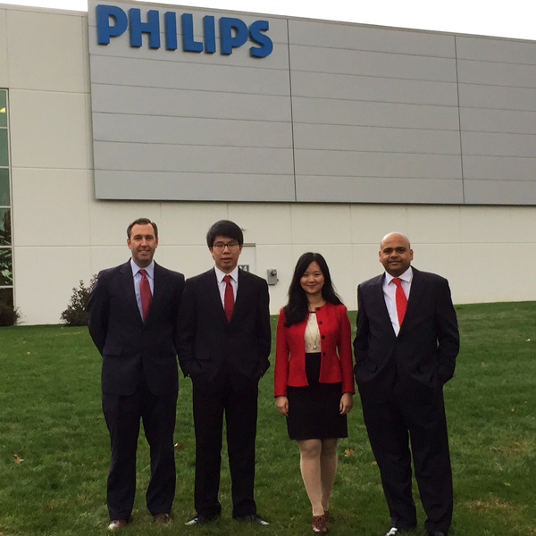 from left to right, Matt Maloney, MBA '07, Jing Xie, MSM-ORSC '13, Chang Liu, MSM-ORSC '13, and Anand Singh, MBA '09