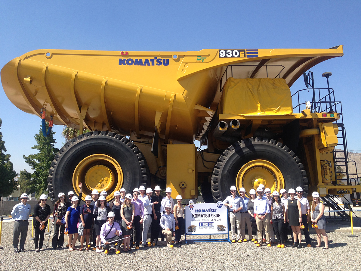 Weatherhead students stand in front of a Komatsu dump truck. photo by: Gail Thornton, Program Manager, Southbridge Access