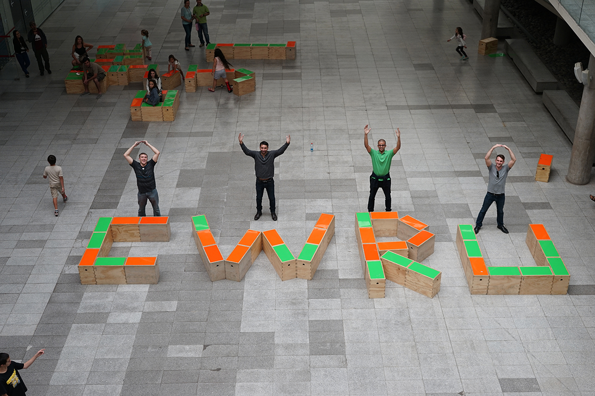 Weatherhead students spelling out 'CWRU' and 'Ohio', photo by: Yusuke Hashimoto